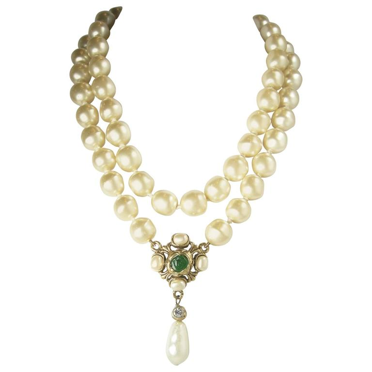 Vintage  Chanel 1985 Multi-Strand Pearl & Gripoix Drop Necklace For Sale