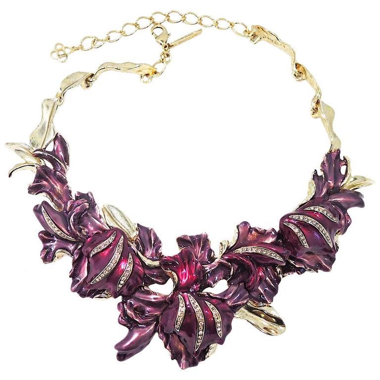 Oscar De La Renta Lavender & Purple Floral Necklace For Sale