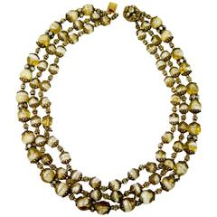 Miriam Haskell Vintage Three Strand Glass Bead Necklace, 1950s