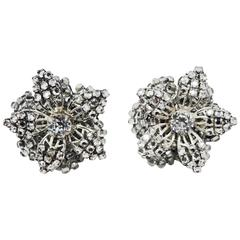 Vintage Signed Miriam Haskell Floral Crystal Earrings