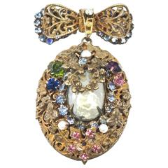 Vintage Rare 1950s  Miriam Haskell Locket Brooch Pin