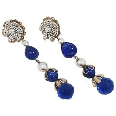 Vintage Long, Rare Signed Miriam Haskell Blue & Faux Pearl Earrings
