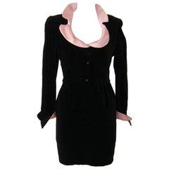 1980s Thierry Mugler Black Velvet Cocktail Dress