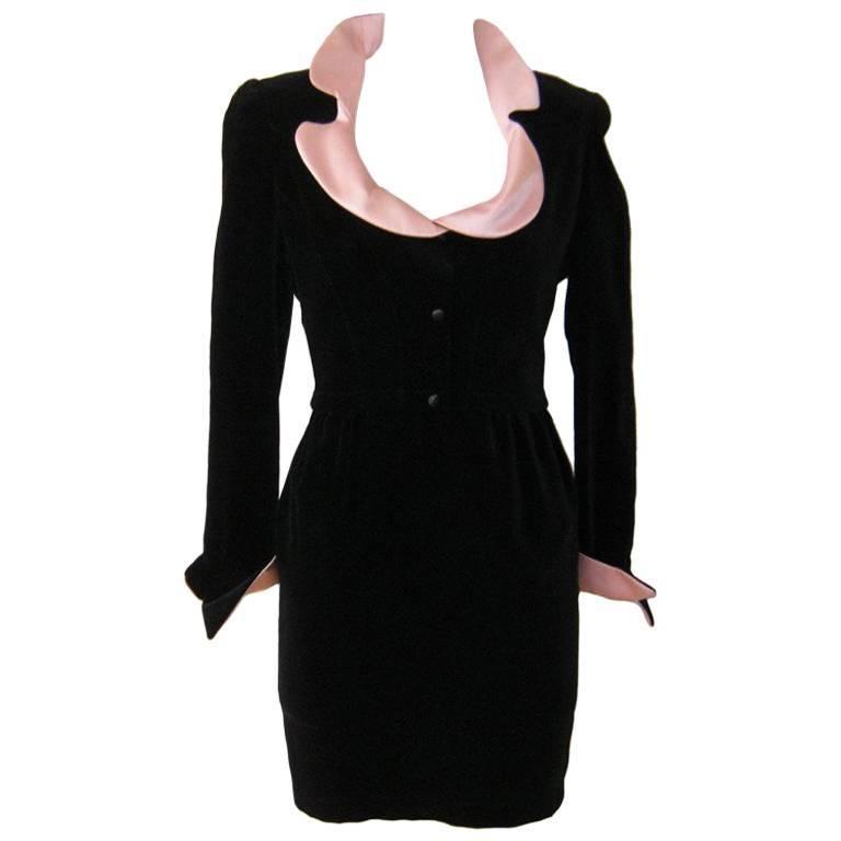 1980s Thierry Mugler Black Velvet Cocktail Dress For Sale