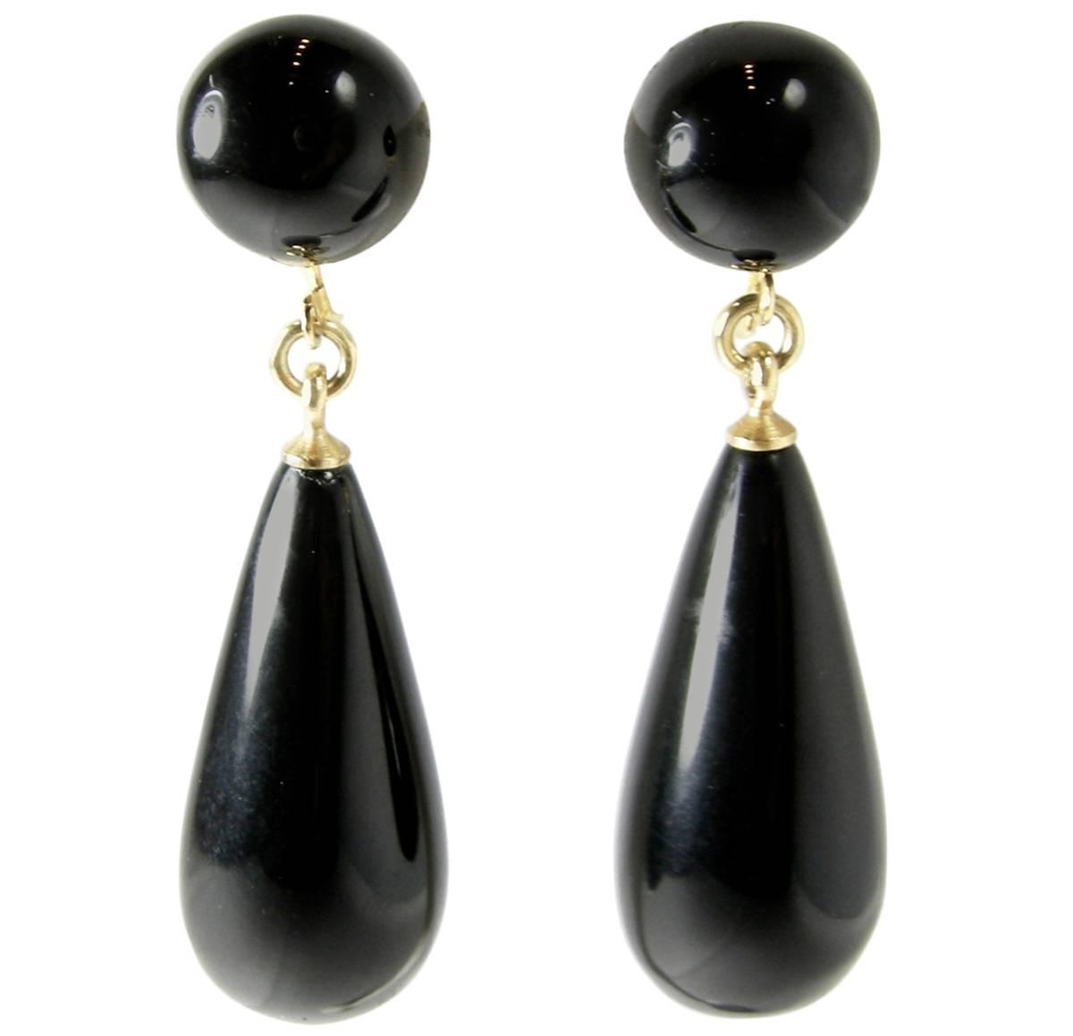 Vintage Kenneth Lane Black Teardrop Earrings For Sale at ...