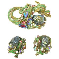 Vintage HAR Dragon Brooch and Earrings