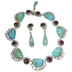 "Robert Sorrell ""One Of A Kind"" Faux Turquoise Scallop Necklace Set"