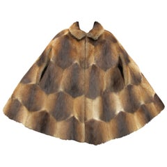 Vintage 1970s Funky Sheared Beaver Swing Cape Coat