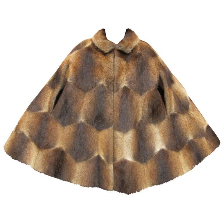 Vintage 1970s Funky Sheared Beaver Swing Cape Coat