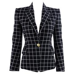 Balmain Black and White Grid Blazer Jacket