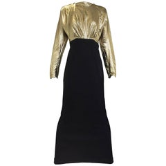 Vintage Geoffrey Beene gold lamé and black jersey wool 80s dress