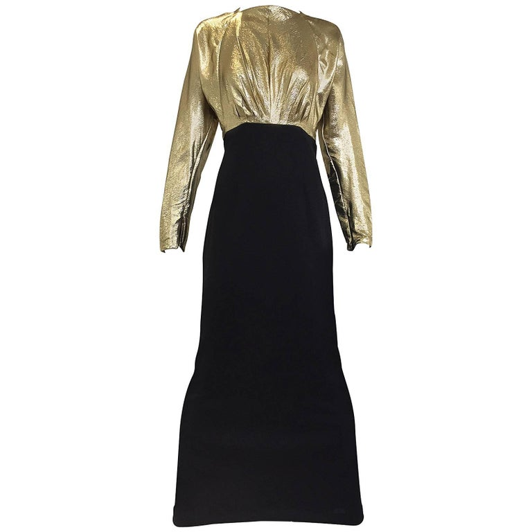 Vintage Geoffrey Beene gold lamé and black jersey wool 80s dress For Sale