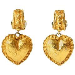 1980s Christian Lacroix Heart Earrings