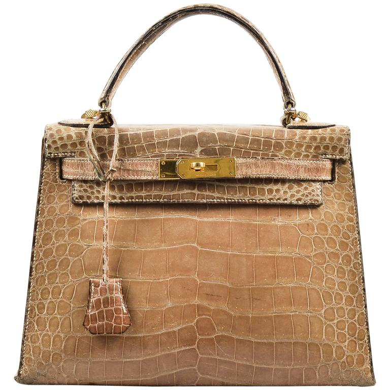 "Vintage Hermes Taupe Crocodile Leather Gold Hardware ""Kelly 28"" Handbag 1"