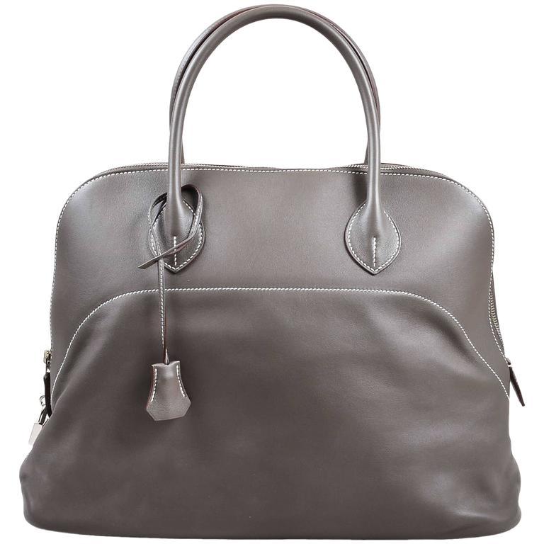 "Hermes 'Vert de Gris' Gray Barenia Leather ""Relax Bolide"" 40cm Tote Bag 1"