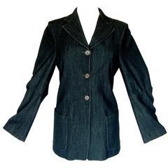 Ann Demeulemeester Jacket Long Charcoal Black Wool Blend Baggy Sleeve Sz 38