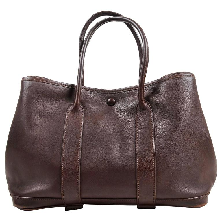 """Hermes Brown Swift Leather """"Bolduc Twilly"""" Lining """"Garden Party TPM"""" Tote Bag 1"""