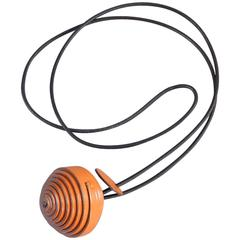 Hermes Jojoba Wrapped Leather Ball Necklace