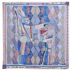 Hermes cashmere silk shawl 140cm - Patchwork Horse