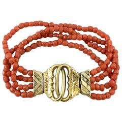 Antique Multi-Strand Coral and Gold Bracelet - Mid 19th Century