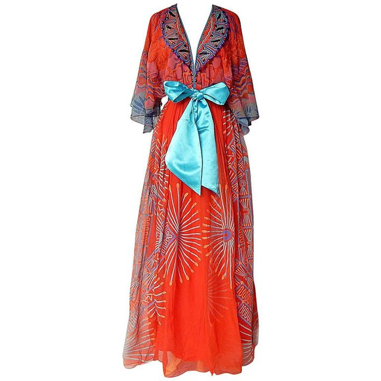 1978 Zandra Rhodes Mexican Collection Maxi Dress With Belt For