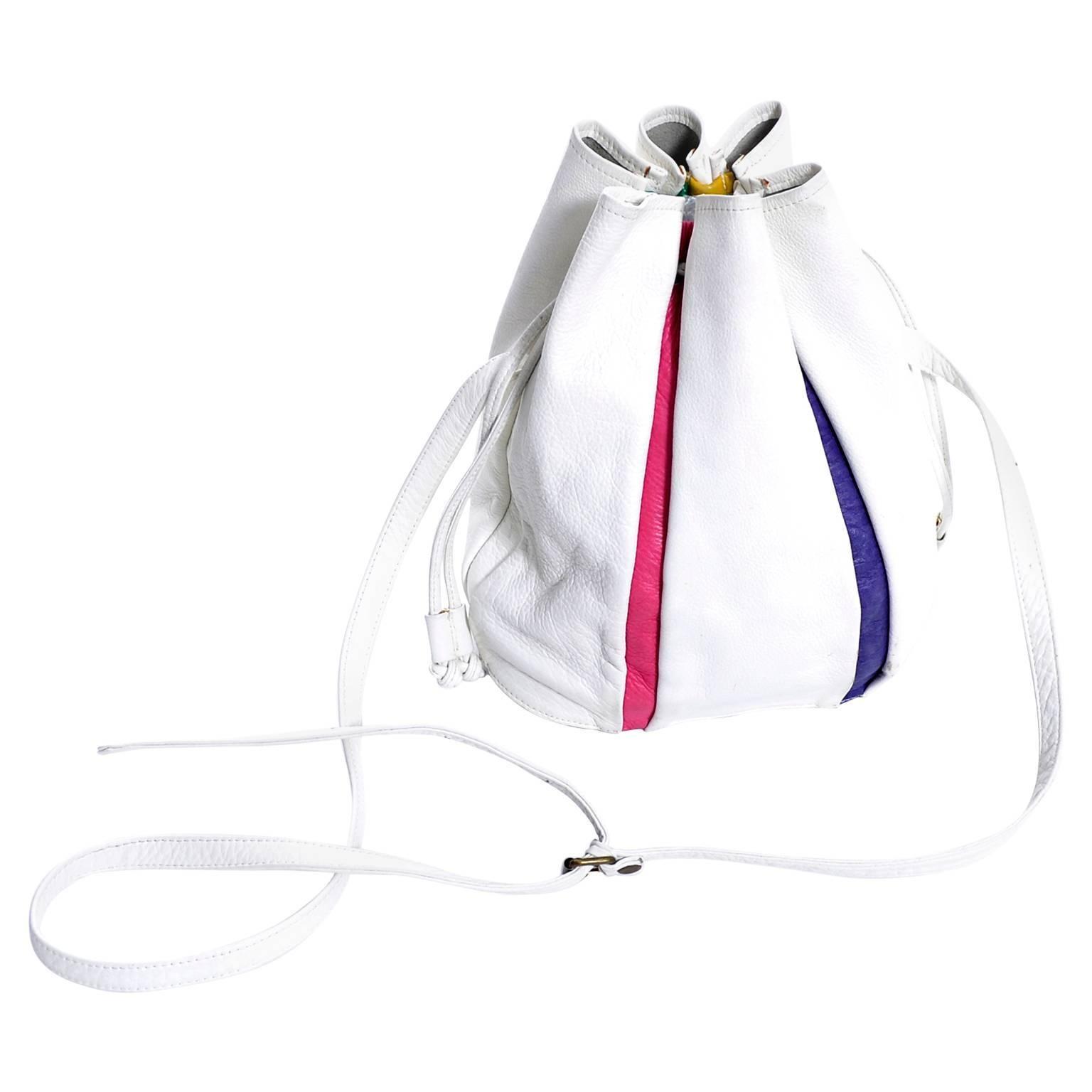 1970s Vintage Leather Handbag Bucket Bag Saks Fifth Avenue Striped Bag