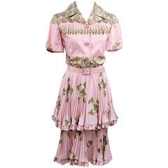 1970s Valentino Boutique Vintage Dress Pink Silk Seashells I Magnin 4/6