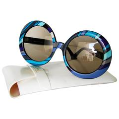 Emilio Pucci Sunglasses Bold Oversized Blue + Purple Mod + Original Case 1970s