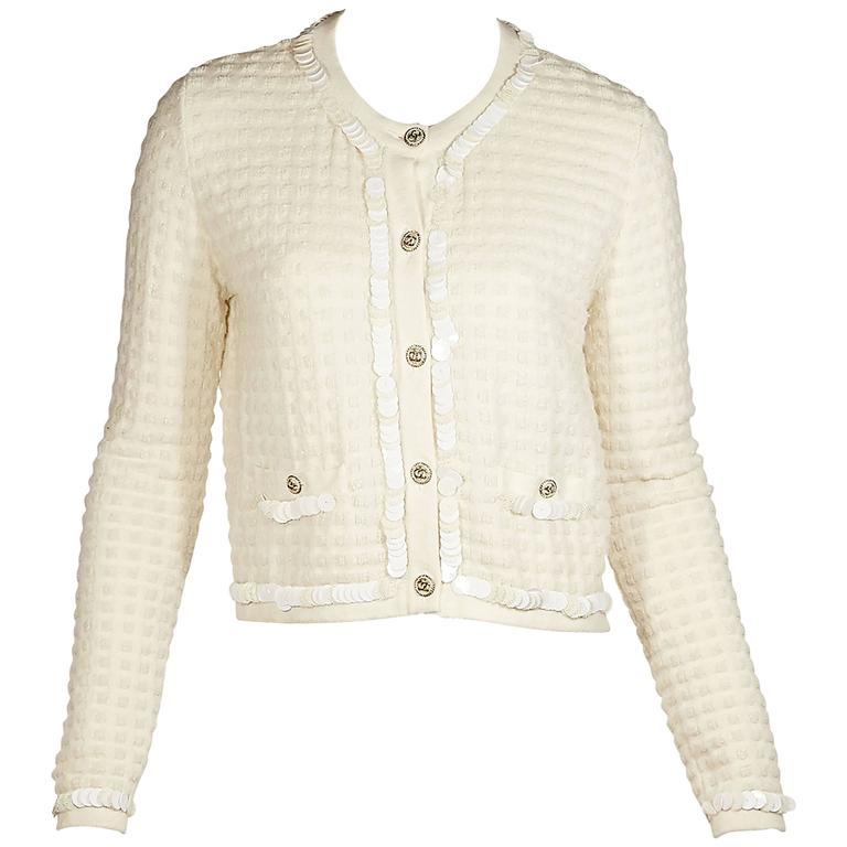Ivory Chanel Embellished Cashmere & Wool Cardigan For Sale