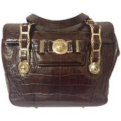 Vintage Gianni Versace brown croc-embossed leather tote bag with golden sunburst