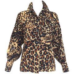 70s Saint Laurent iconic leopard print wool blouse