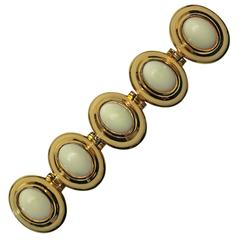 """Alexis Kirk Mod 7.5""""L Belt Buckle Gold with White Cabochons Statement Piece 80s"""