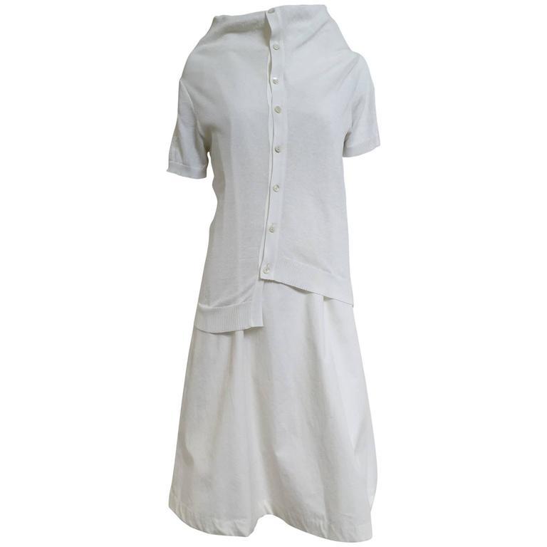 90s Comme des garcons white cotton and knit dress