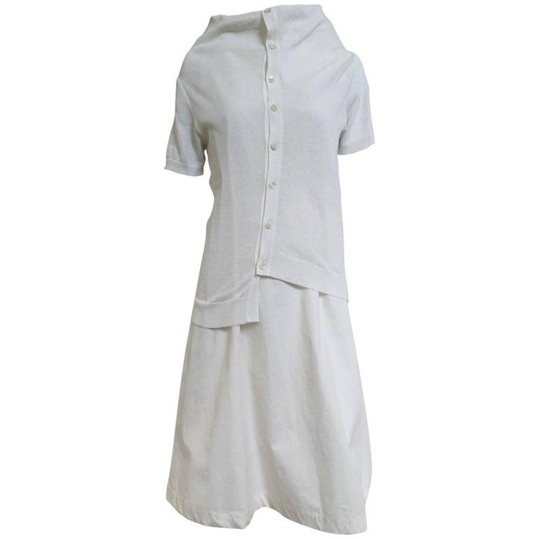 90s Comme des garcons white cotton and knit dress For Sale