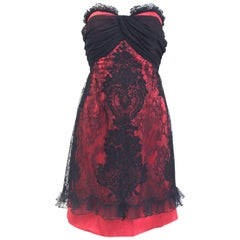 1990s Christian Lacroix Red and Black Strapless Cocktail Dress