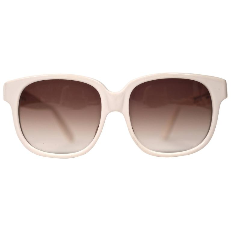1980's EMMANUELLE KHANH oversized white sunglasses For Sale