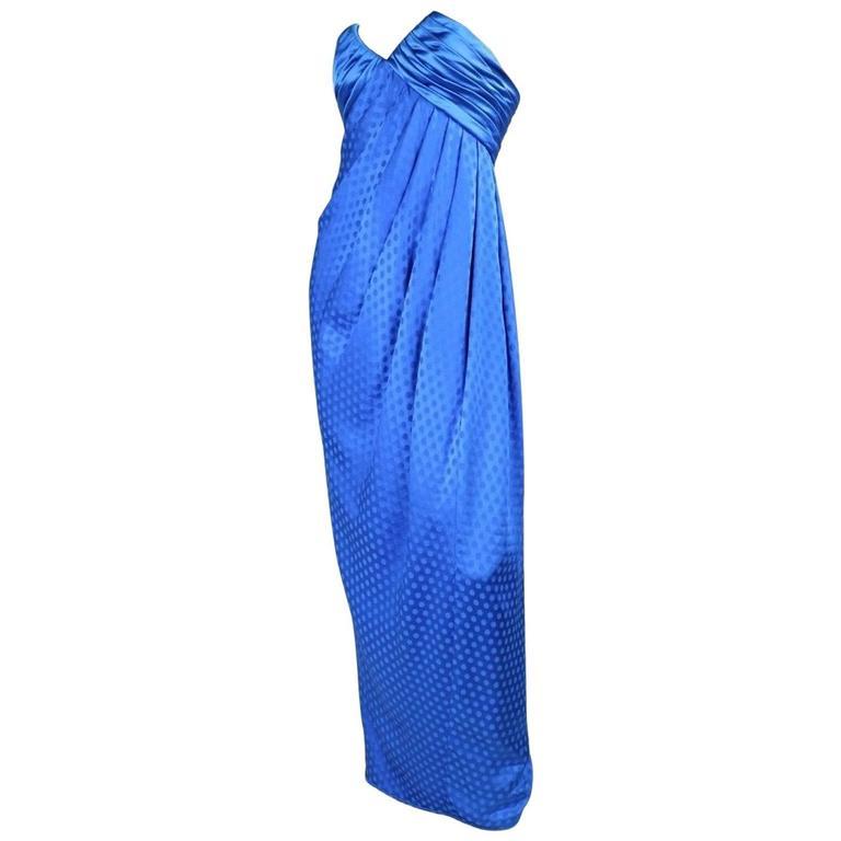 1980's Emanuel Ungaro Royal Blue Silk Gown
