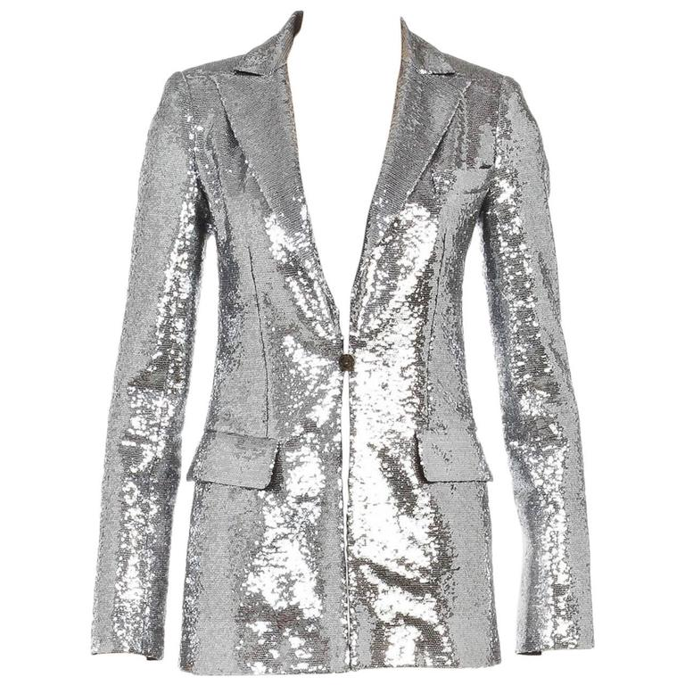 Chanel Silver Long Sleeve One Button Sequin Jacket (Size ...