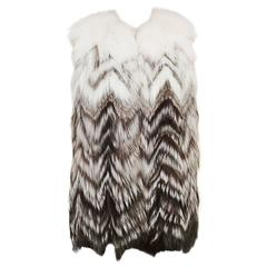 Prada Black and White Fox Fur Long Vest (Size 42)