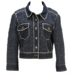 Chanel Blue Dark Wash Denim Ruffled Disk Button Jacket (Size 40)
