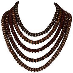 Francoise Montague Five Strand Brown Swarovski Crystal Rondelle Necklace