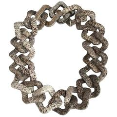 KMO Paris Embossed Leather and Crushed Silver Link Necklace