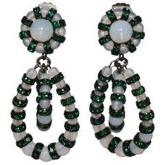 Francoise Montague Opalescent White and Emerald Green Lolita Clip Earrings