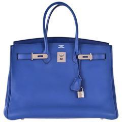 Hermes 35cm Birkin Bag Bleu Brighton Palladium hardware Togo JaneFinds