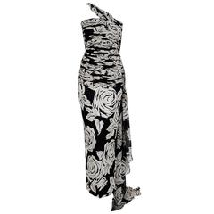 1979 Valentino Black & White Roses Floral Draped Silk One-Shoulder Trained Gown