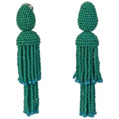 Oscar de la Renta Turquoise Two-Tiered Beaded Tassel Clip-On Earrings