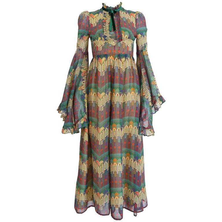 Samuel Sherman novelty print voile summer dress, c. 1970 For Sale