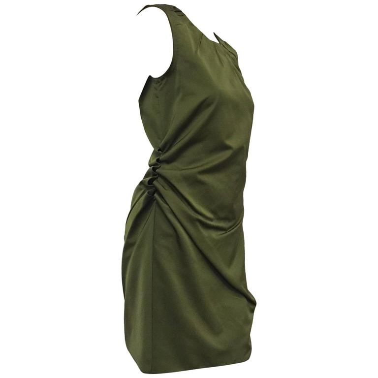 Marc Jacobs for Bergdorf Goodman Olive Wool and Silk Sleeveless Sheath