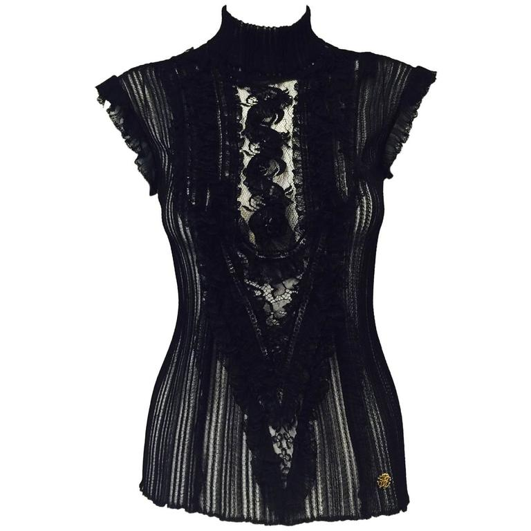 Roberto Cavalli Black Stretch Lace Cap Sleeve Top With Mock Turtle Neck 1