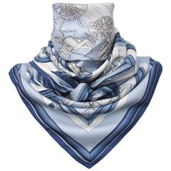 Hermes Vintage Silk Scarf WEDGWOOD by Ledoux Blue White 90 cm
